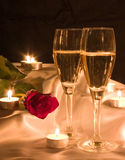 Champagne and rose Royalty Free Stock Photos