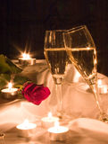 Champagne and rose Stock Images