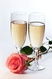 Champagne and rose Royalty Free Stock Image