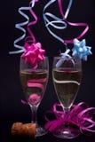 Champagne rose et bleu Photographie stock