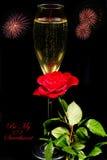 Champagne, Rose et feux d'artifice Photos stock