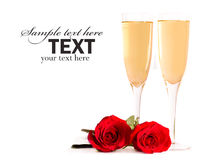 Champagne and roses Royalty Free Stock Photos