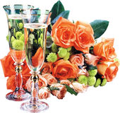 Champagne and roses. Stock Photography
