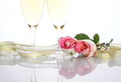 Champagne and Roses Stock Photo