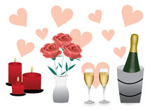 Champagne roses and candles Stock Photo