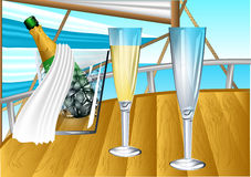 Champagne on sail boat Stock Photography