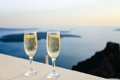 Champagne and sea Stock Photo