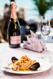 Champagne and seafood Royalty Free Stock Images