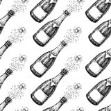 Champagne seamless pattern. Bottle explosion. Hand drawn isolated vector Royalty Free Stock Image