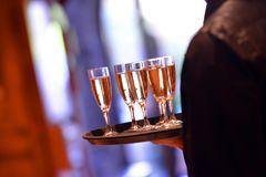 Sparkling wine in glasses royalty free stock photos