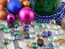 Champagne set, balls, stone, new year decoration Royalty Free Stock Photos