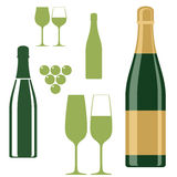 Champagne. Set. Isolated objects on white background. Vector illustration (EPS 10 Stock Photo