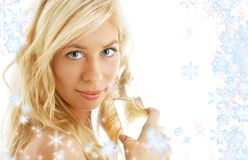 Champagne with showflakes Stock Image
