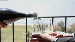 Champagne Slow Motion Pour With-Partei stock video