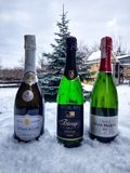 Champagne & snow royalty free stock photography