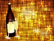 Champagne and snowflakes Royalty Free Stock Image