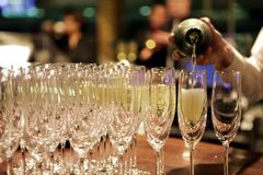 Champagne som häller in i exponeringsglas av uppassaren på händelsen Arkivbild