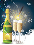 Champagne and sparkler Stock Photo