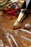 Champagne sparkling on a beach Stock Photography