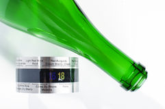 Champagne or sparkling wine bottle and wine thermometer. Wine tools and equipment stock image