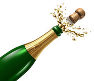 Champagne with Splash. And flying cork explosion as a symbol of celebration and party happiness for an important occasion like New year eve or a successful Royalty Free Stock Photos