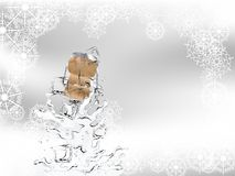 Champagne splash. With ice cubes and cork Royalty Free Stock Image