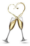 Champagne splash in shape of heart isolated Royalty Free Stock Photo