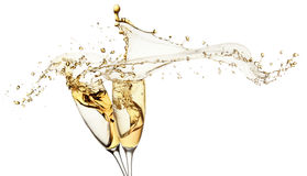 Champagne Splashes From Glasses Isolated On The White Background Stock Photography