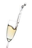 Champagne-Spritzen von einem Glas Lizenzfreies Stockbild