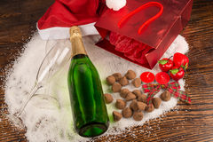 Champagne still life on table stock image