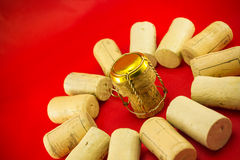 Champagne stopper surrounded by cork stoppers Stock Photography