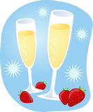 Champagne and strawberries Royalty Free Stock Photos