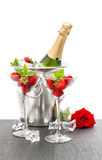 Champagne strawberries red rose white background Stock Photography
