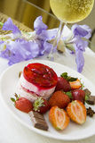 Champagne and strawberry dessert Royalty Free Stock Photo
