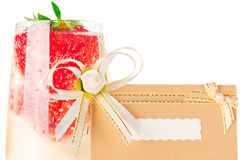 Champagne with strawberry invitation card Stock Image