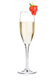 Champagne with strawberry Stock Images