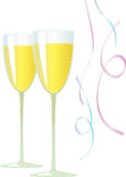 Champagne and Streamers. Two champagne flutes and some pink and blue falling streamers Stock Photo