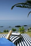 Champagne sunlounger and sunny sea views. Champagne in bucket, next to sunlounger with palm tree and sunny sea views stock photography