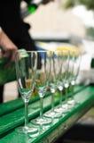 champagne tömmer få exponeringsglas Royaltyfria Foton