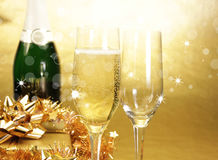 Champagne theme. Champagne glasses on celebration table Stock Images