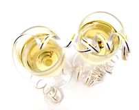 Champagne and tinsel over white. Pair of champagne and tinsel over white Royalty Free Stock Photo