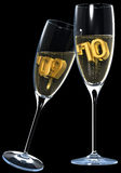 Champagne toast. Two champagne glasses with 09 and 10 Stock Images