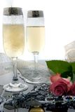 Champagne Toast. Image of celebratory champagne can be used for easter, valentine's wedding, etc Royalty Free Stock Images