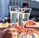 Champagne Toast. Party time outdoors stock images