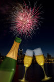 Champagne Toast with Portland Oregon Skyline Royalty Free Stock Images