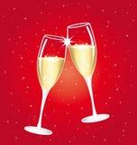 Champagne-toostkoppen Rode sterrige nacht Royalty-vrije Stock Fotografie