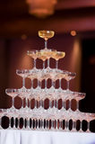 Champagne tower. In wedding ceremony Royalty Free Stock Image