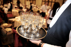 Champagne on tray Stock Photo