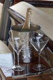 Champagne and two glasses Royalty Free Stock Image