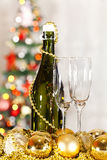 Champagne and two glasses Stock Photos